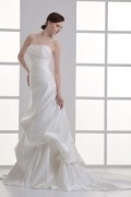 Chic Satin Ivory A Line Strapless Court Train Wedding Dress