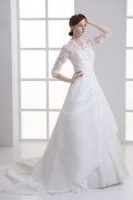Royal Taffeta V neck Court Train Beading Bridal Dress With Sleeves