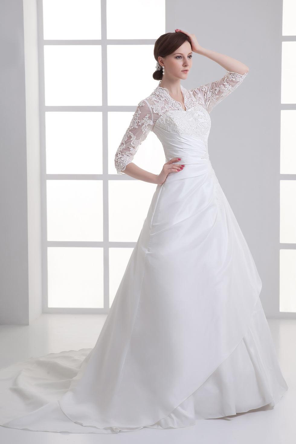 Royal taffeta v neck a line wedding dress with sleeves for A line taffeta wedding dress