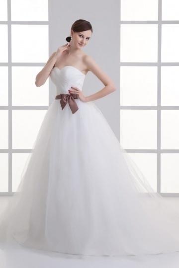 Herz-Ausschnitt langes A-Linie Schleife verziertes Brautkleider Persun