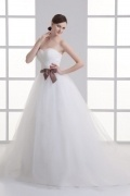 Simple Tulle A Line Ivory Sweep Train Wedding Dresses With Bow