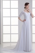 Long Sweetheart A Line Chiffon White Empire Wedding Dresses With Sleeves