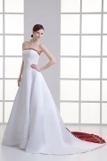 Gorgeous Ivory A Line Satin Court Train Strapless Wedding Dress