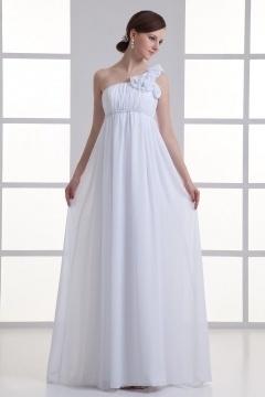 Empire robe pour mariée enceinte à seule épaule fleurie