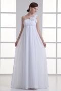 Modern Chiffon White A Line Brush Train Ruching Wedding Dresses