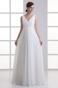 Simple Beach V Neck Long Empire Beading Chiffon Wedding Dress