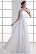 Chic Ivory Chiffon A Line Halter Beading Long Wedding Dresses