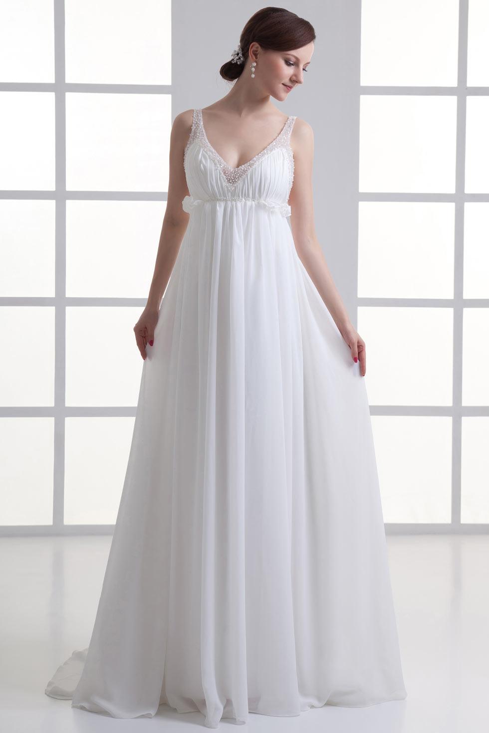 Sexy beach chiffon v neck backless beading wedding dress for Backless chiffon wedding dress