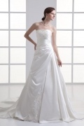 Simple Satin Court Train Strapless Ruching Outdoor Wedding Dresses