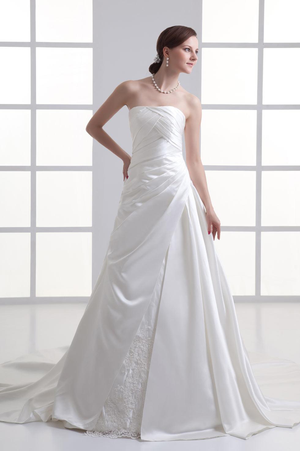 Modern satin strapless a line church ruching wedding dress for A line wedding dress with ruching