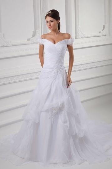 Sexy V-Ausschnitt langes Brautkleider aus Organza Persun