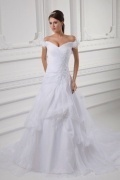 Sexy Organza Ivory Court Train Appliques Wedding Dress