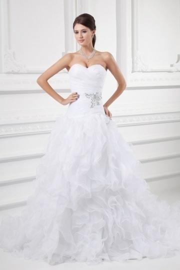 Chic Herz-Ausschnitt A-Linie weißes Brautkleider mit Kapelle Schleppe Persun
