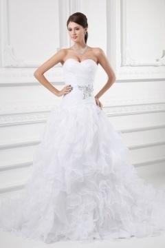 Chic Herz-Ausschnitt A-Linie weißes Brautkleider mit Kapelle Schleppe