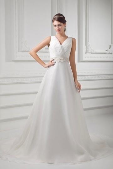 Neues V-Ausschnitt A-Linie Brautkleider aus Organza Persun