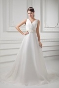 Sexy V Neck Organza Ivory Court Train Ruffles Wedding Dress