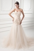 Sweetheart Tulle Court Train Dropped Sequins Bridal Dress