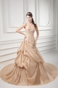 Champagne Taffeta Strapless Court Train Applique Church Bridal Dress