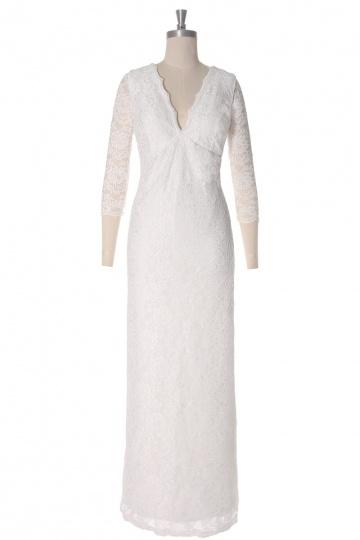 Vintages Etui-Linie V-Ausschnitt Spitze Brautkleider für Schwangere Persun