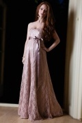 Simple Sweetheart Brown A Line Long Lace Maternity Wedding Dress