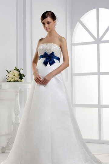 Chic Ivory Court Train Strapless Bow Maternity Wedding Dress