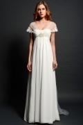Elegant Chiffon Ivory Sweep Train Straps Empire Beading Wedding Gown