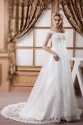 Robe de mariage grossesse avec traîne courte brodée de dentelle