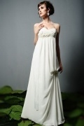 Modern Chiffon Court Train A Line Spaghetti Straps Flowers Maternity Bridal Dress