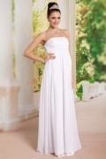 Chiffon White Strapless Long Maternity Formal Gown