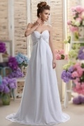 Elegant Sweetheart Chiffon Court Train White Beading Maternity Bridal Dress