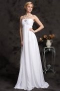 Modern White Chiffon A Line Sweep Train Straps Beading Wedding Dress