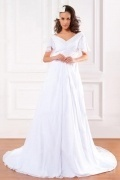 Chic White V Neck Chiffon Ruffle Maternity Bridal Dress With Sleeves