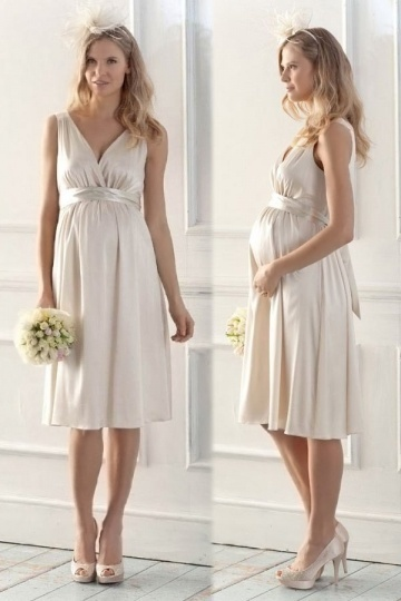 Sexy Satin Champagne A Line Knee Length V Neck Maternity Bridal Gown