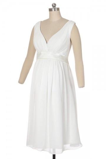 Chic A-Linie V-Ausschnitt Knielanges Empire Brautkleider,Abendkleider Persun