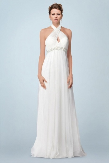 Sexy Tulle A Line Halter Long Beading Outdoor Wedding Dress