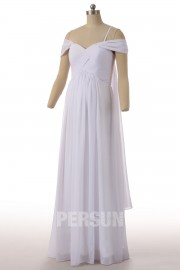 Simple Chiffon Ivory Strapless A Line Long Ruffles Maternity Wedding Dress