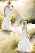 Sexy Chiffon Ivory Sweep Train A Line Appliques Maternity Bridal Dress