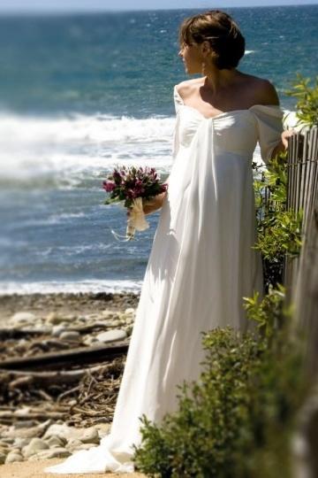 Chic A Line Chiffon Sweetheart Ruffles Beach Maternity Wedding Dress