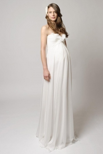 Chic Sweetheart Ivory Chiffon Long Empire Ruffles Maternity Wedding Gown