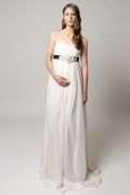 Chiffon Strapless A Line Long Empire Maternity Wedding Dress