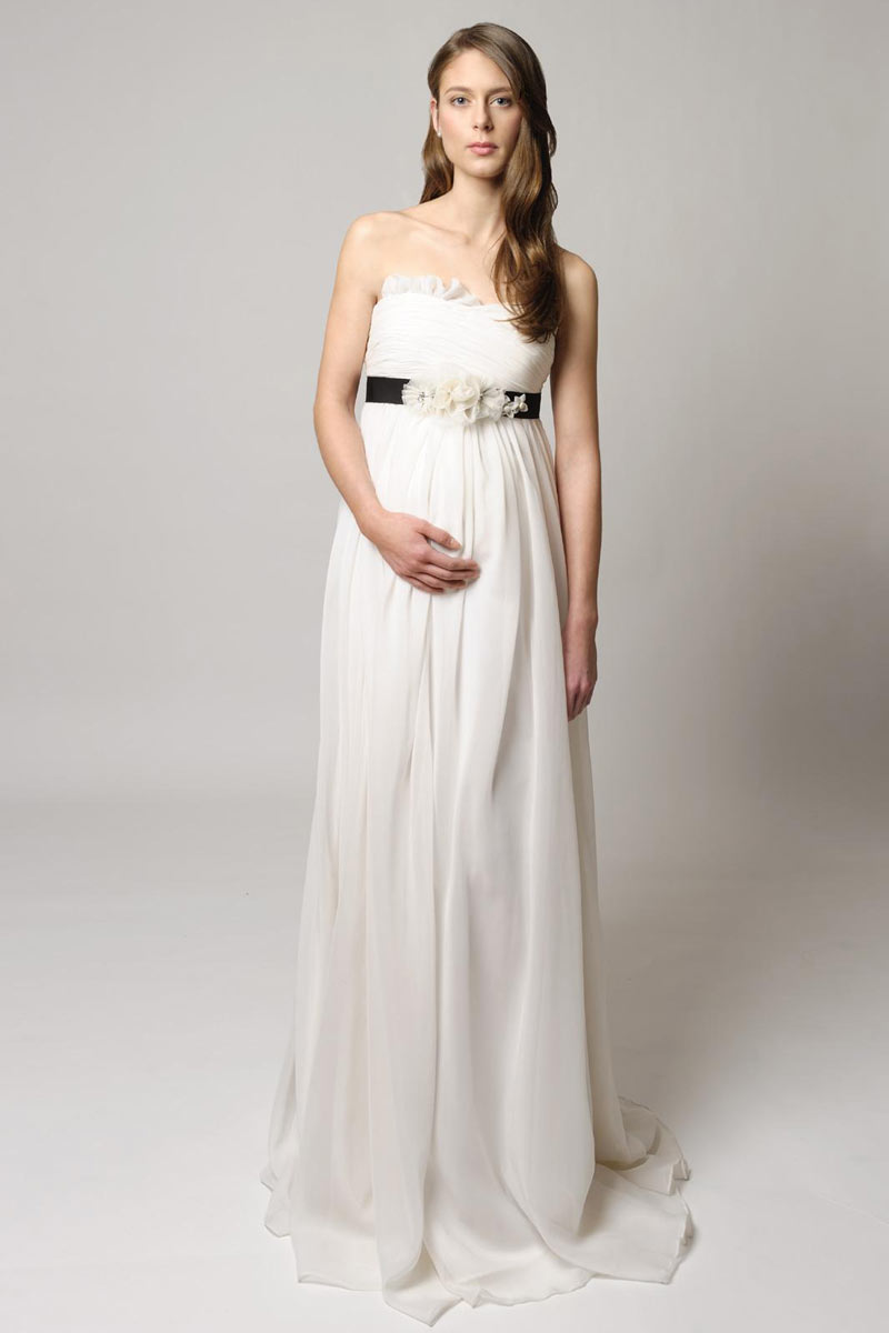 Chiffon strapless a line long empire maternity wedding for Long strapless wedding dresses