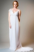 Sexy V Neck Chiffon Ivory Court Train Feathers Maternity Bridal Gown