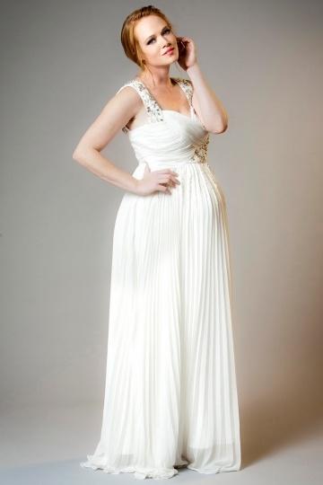 Elegantes A-Linie Empire ivory Chiffon Brautkleider, Abendkleider für Schwangere Persun