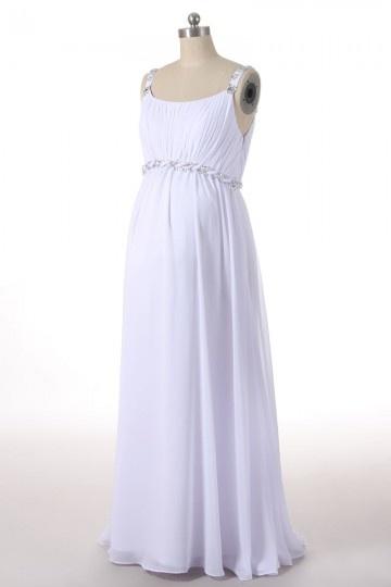 Schlichtes ivory Chiffon A-Linie Empire Brautkleider, Abendkleider für Schwangere Persun