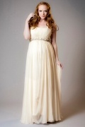 Chic Square Chiffon Ivory Beading Plus Size Maternity Bridal Dress