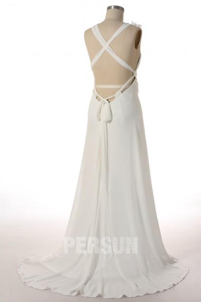 Sexy A-Linie V-Ausschnitt ivory Empire Brautkleider, Abendkleider aus Chiffon Persun