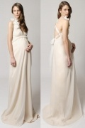 Sexy V Neck Chiffon Ivory Sweep Train Flowers Maternity Wedding Gown
