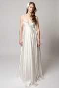 Gorgeous Satin Ivory A Line V Neck Sweep Train Beading Maternity Wedding Dress