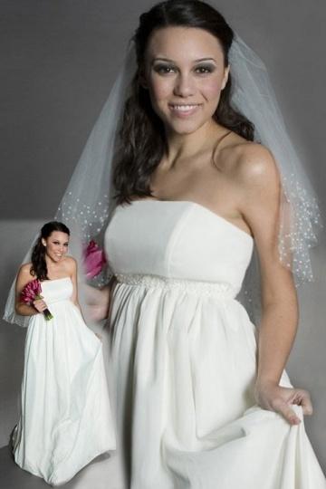 Schlichtes Empire Trägerloses A-Linie Brautkleider aus Chiffon Persun