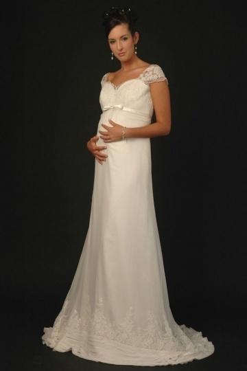 Schwangere-Brautkleid-Spitze-Ivory-Persunkleid